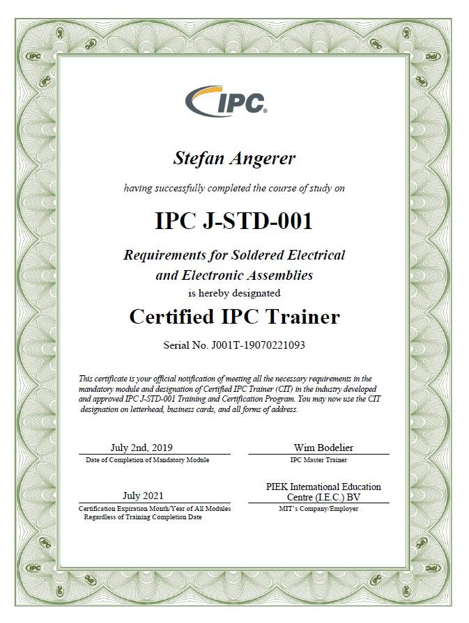 ISO9001-Zertifikat für das Unternehmen SATec 3