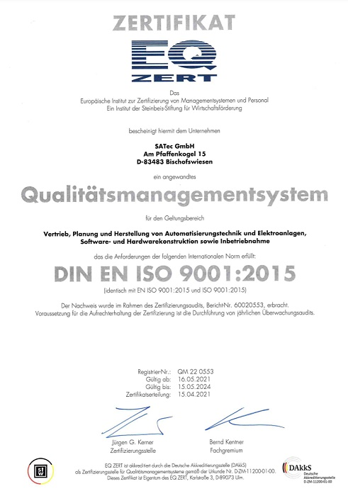 ISO9001-Certification for SATec